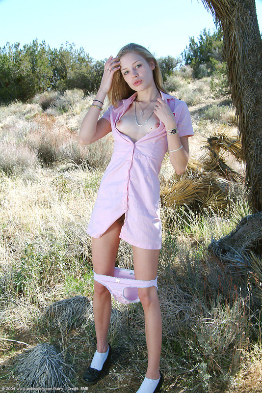 Free Gallery - Pretty blonde hairy teen takes off her